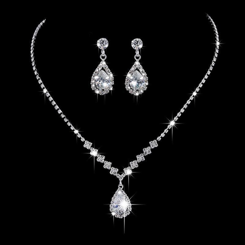 BZY Wedding Silver Jewelry Set for Women Luxury Shiny Austrian Crystal Necklace Water Drop Earrings Sets