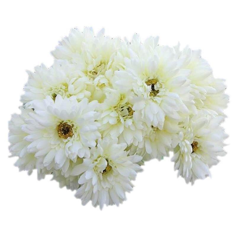 10 PCS Artificial Silk Gerbera Daisy Flower Wedding Party Home Bridal Bouquet White