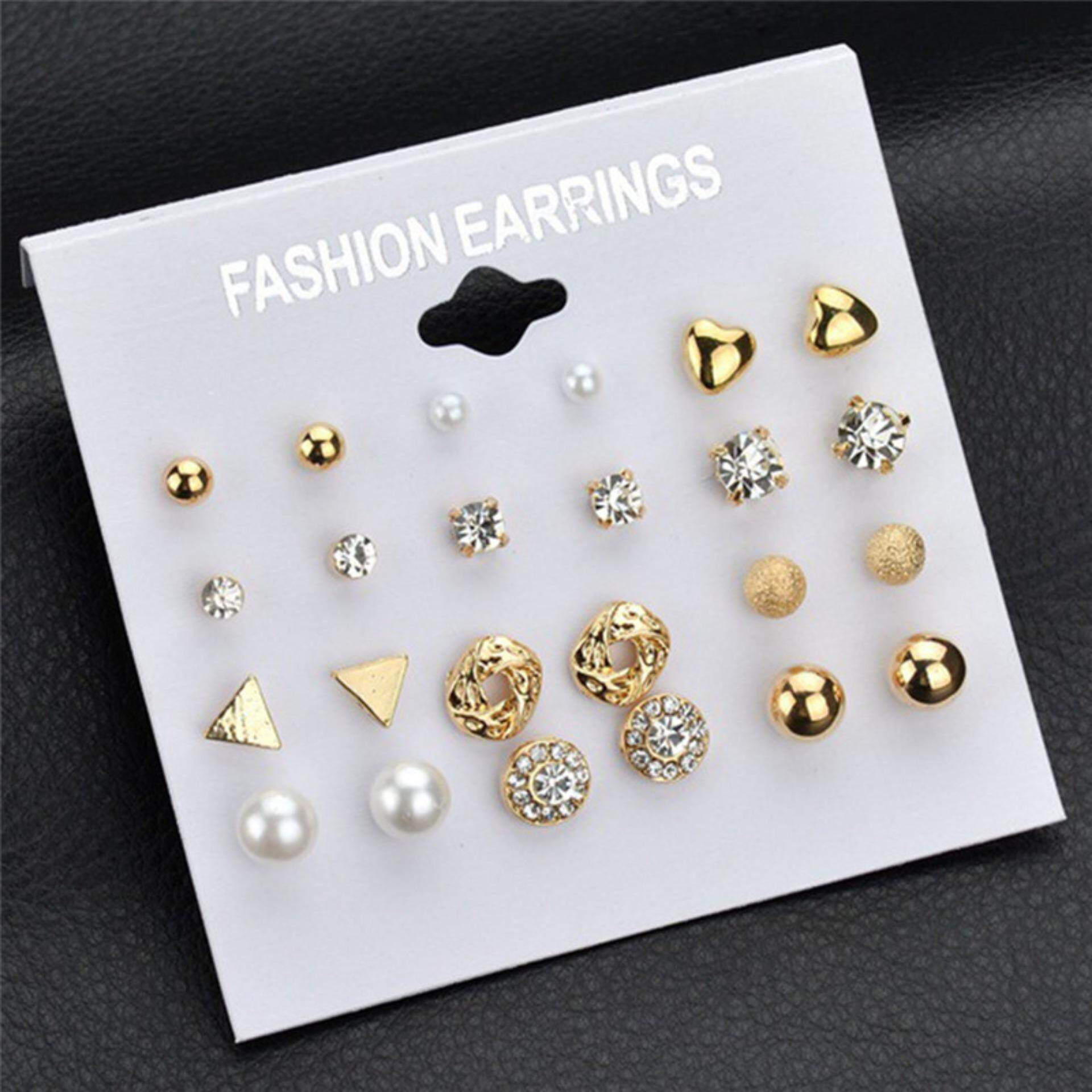 12pcs/Set Women Earrings Fashion Square Zircon Earring Love Heart Rhinestones Ear Studs Gold