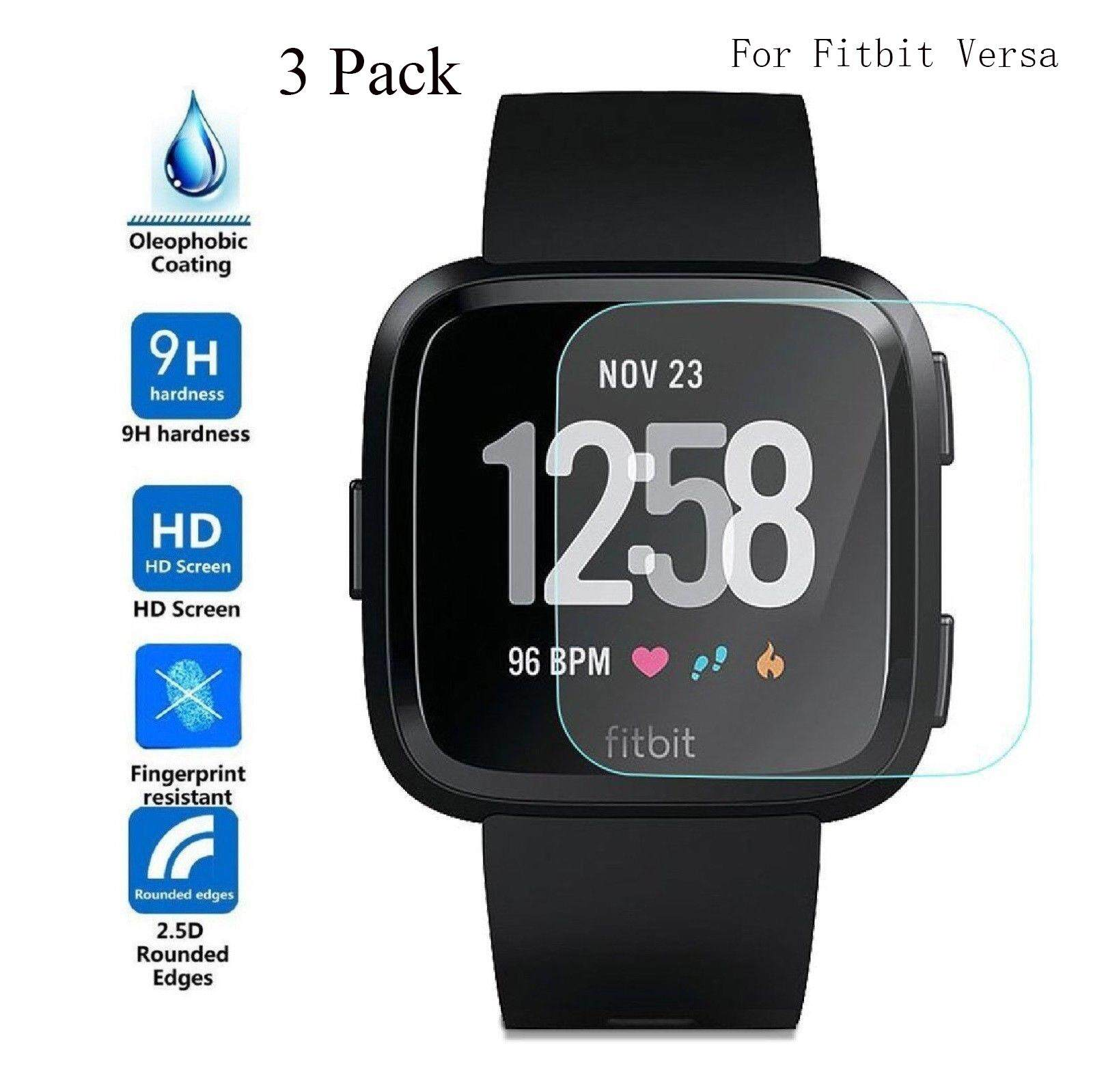 3 Pcs 9H Tempered Glass Screen Protector for Fit-bit Versa Smart Watch