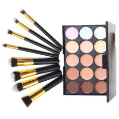 15 Colors Facial Neutral Concealer Camouflage Cream Cosmetic Palette Makeup Kit With + Black & Gold 10Pcs Cosmetic Makeup Brush Set