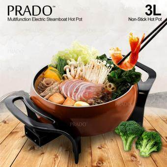 Malaysia Prices PRADO Multifunction Electric Steamboat Hot Pot Non Stick Pan 3L 23cm