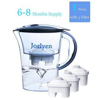 Malaysia Prices Jorlyen Water Filter Pitcher, BPA free With 3 Filters(6-8 Months), Slim Pitcher Fits Easily in any fridges(Blue)