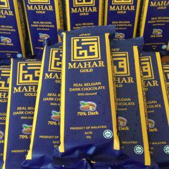 Malaysia Prices PARTY PACK 50 BARS of CHOCOLATE MAHAR, REAL BELGIAN DARK CHOCOLATE WITH ALMOND