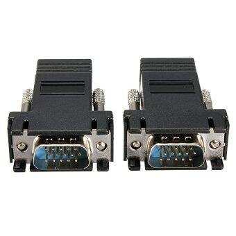 2Pack VGA Extender Male To LAN CAT5 CAT5e CAT6 RJ45 Network CableFemale Adapter