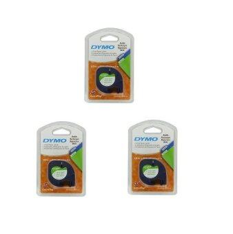 3 X DYMO Black on White LetraTag Paper Tapes Personal Label Maker