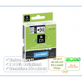 Dymo D1 Label Cassette/Tape/Refill 6mm*7m Black On White (Original& Genuine Dymo Product)