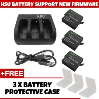 (GENUINE) HSU SUPPORT NEW FIRMWARE V02.51 HSU GoPro Accessory 3 Pack 3.85 V GoPro Hero 5 Battery with 3 Slot Charger Kit