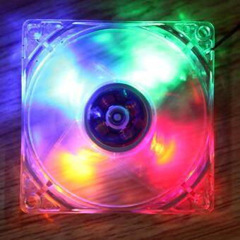 LED Light CPU Cooling Fan Computer PC Clear Case Quad 12CM Heatsink
