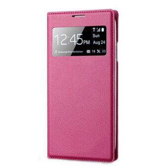 S-View Window Flip Leather Case Cover for Samsung Galaxy S4 IVi9500 (Hot Pink)