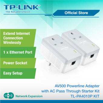 TP-LINK TL-PA4010PKIT 500Mbps Powerline Homeplug Adapters AC Pass Thru