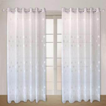 1 Piece set : Essina Eyelet Embroidery Sheer Curtain 200cm x 260cm- CLOVER