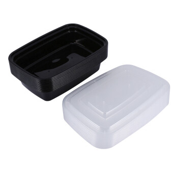 10pcs 1000ml Plastic Meal Prep Containers Microwavable Food StorageBoxs Takeaway Box With Lid (Black)