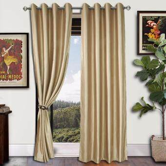 2 PIECES : Essina Eyelet Curtain Essential Blackout 100cm x 260cm -KALINA BROWN(fit window/sliding door up to 150cm width)