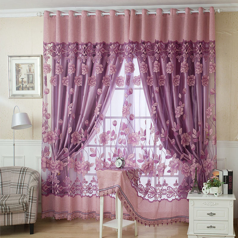 Grey European Window Curtains For Living Room Door Panel