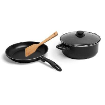 3 Pcs Cooka Nonstick Iron Pot Pan Set with Wooden Turner