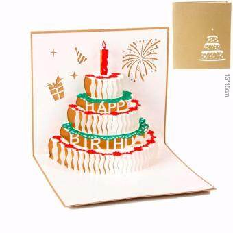 3D DIY Korean Greetings Card - Happy Birthday-GOLD