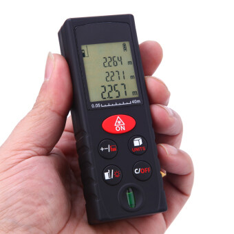40m/131ft Mini Handheld Digital Laser Distance Meter Range Finder Area Volume Measurement Level Bubble