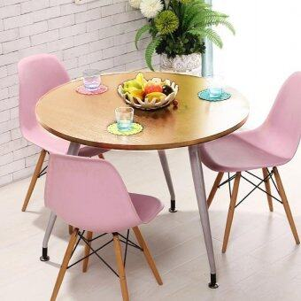 80cm Diameter Tripod Leg Round Dining Table Light Brown