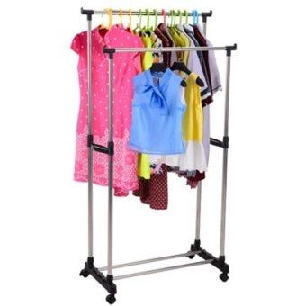 Double pole clothes rack lazada