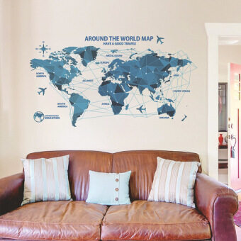 Creative world Map Wall Stickers Science Technology Origami Map Wall Decal Home Decor Art Living Room Bedroom Backdrop Wallpaper