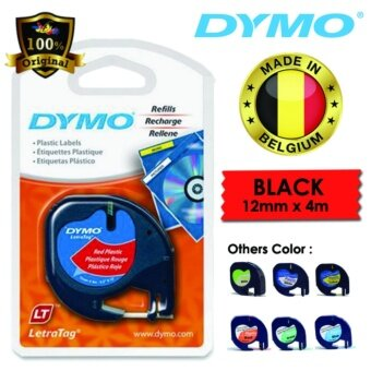 Dymo LetraTag Label Marker Tape Refill 12mm x 4m- Plastic Red