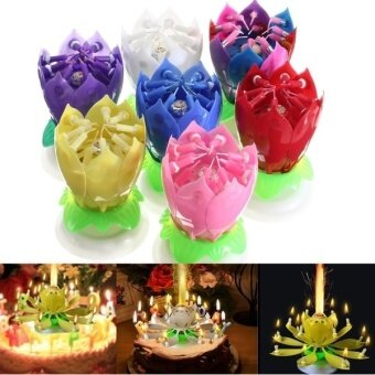 Fang Fang Lovely Musical Lotus Flower Rotating Happy Birthday PartyGift Candle Lights - yellow