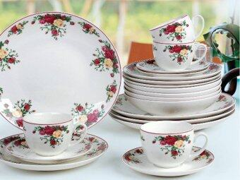Giacomo Ruby Rose 20pcs translucent dinner set