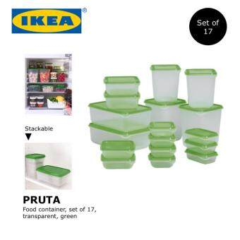IKEA PRUTA Plastic Food container/Food Organizer, set of 17, transparent, green