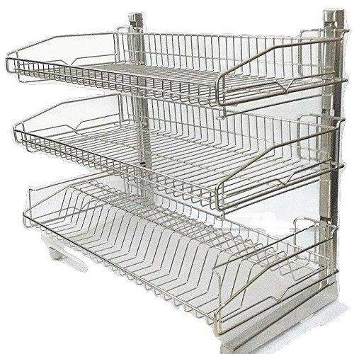 Stainless Steel Dish Rack 2 Tier Space Saver Dish Drainer Drying Holder Sliver Lazada Malaysia