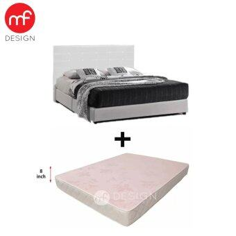 MF DESIGN White GRORIOUS Divan Bed with 8-inch Damask Quilting Fabric Queen Size Mattress(BED+MATTRESS SET)