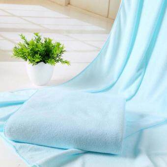Microfiber Absorbent Drying Bath Beach Towel Washcloth Swimwear30x70cm(sky blue)