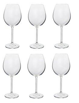 Red wine degustation red wine glass 450ml 6 pcs for Thin stem wine glasses