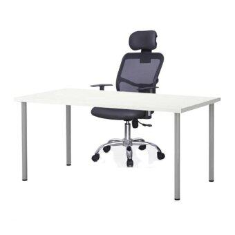 Simple Office Furniture: [100cm x 60cm] Table White & 311 Ergonomic Black