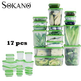 SOKANO 17pcs Sealed Crisper Refrigerator Plastic Food Storage Box Preservation Box Container (Green)