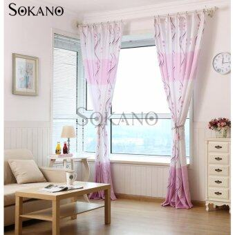 SOKANO CT003 Premium Quality Printed Curtain (2 Panels) 200cm x 270cm- Purple S Design