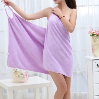 YBC Female Wearable Fast Drying Microfiber Bath Towel Beach SpaBathrobes Purple