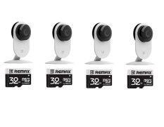 4 x XiaoMi XiaoYi Yi Night Vision 720P HD 8MP IP Camera WIFI Home Security CCTV Webcam + Free 32GB SD Card Class 10