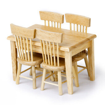 Dining table chair model set miniature furniture wooden - Set table enfant ...