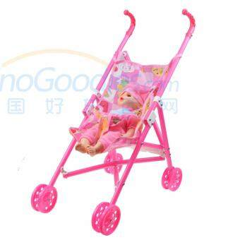 Dolls Buggy Stroller Pushchair Pram Foldable Girls Toy Doll Pram Baby Doll