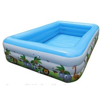 Family Deluxe Inflatable Swimming Pool Set Medium Blue + Free Electronic Pump