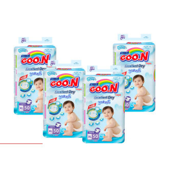 Goo.N Premium Tape SUPER Jumbo XL Size (50 pcs) x 4 Packs GooN Super Dry Diaper & Slim Diapers
