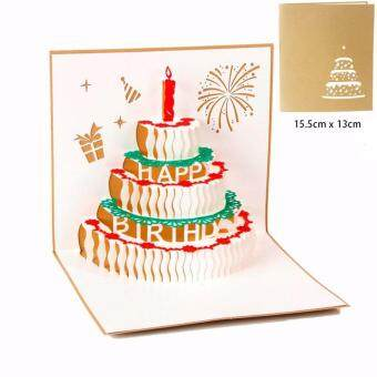 Happy Birthday Cake Wishing Card 3D