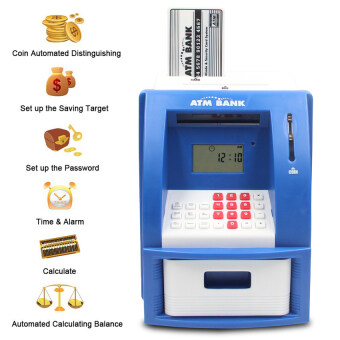 Malaysia Prices Mini Atm Bank Piggy Bank Personal Saving Money Box Machine Withdigital Display For Children As Gift Blue