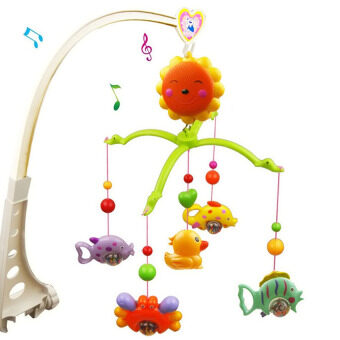 Malaysia Prices FAN CHENG Children Babies Kids Sunflower Style Rotatable Music Crib Bell Withfish Duck Learning Educational Mobile Bed Hanging Toys