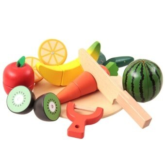 Malaysia Prices 10 PCS Wooden Fruit Vegetable Kitchen Cutting Toy Earlydevelopment And Education Toy For Baby
