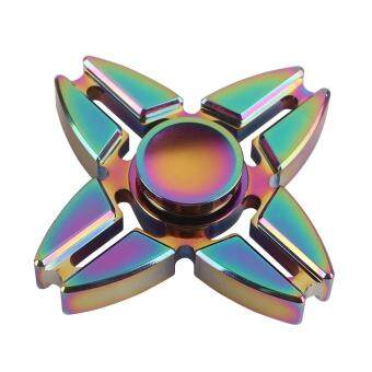 Malaysia Prices 10PCS Fingertip Toy Aluminum Alloy Finger Gyro Four Horns Dazzle Colour Fidget spinner