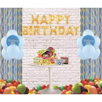 Malaysia Prices Happy Birthday Aluminium Foil Balloon Boy Party Decoration Set and 50s Assorted Color Latex Balloons