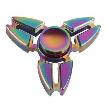 Malaysia Prices 5PCS Fingertip Toy Aluminum Alloy Finger Gyro Three Horns Dazzle Colour Fidget spinner