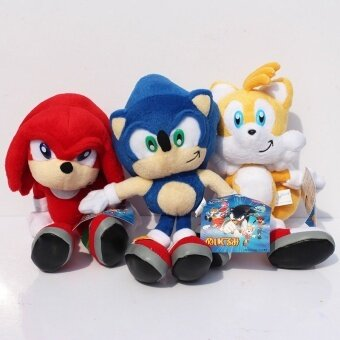 Malaysia Prices 3pcs/lot 25cm Sonic The Hedgehog Sonic Tails Knuckles the Echidna Stuffed Plush Toys Doll Soft Toy Gift for Kids With Tag